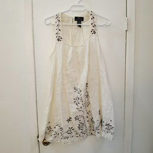 Vtg Linen Tunic Dress with Floral Embroidery
